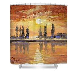 Sunset Over The Lake Shower Curtain by Irek Szelag