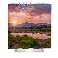 Shower Curtain featuring the photograph Sunrise Over The Little Beskids by Dmytro Korol