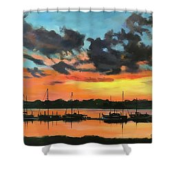 Sunset Over The Marina Shower Curtain