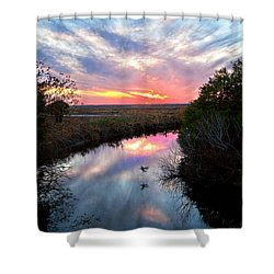 Sunset Over The Marsh Shower Curtain by Christopher Holmes
