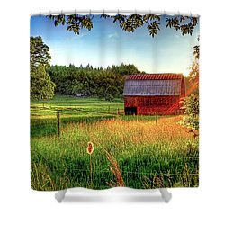 Shower Curtain featuring the photograph Sunset Over The Old Barn by Tyra OBryant
