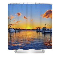 Sunset Over The Sailfish Marina In Riviera Beach Florida Shower Curtain