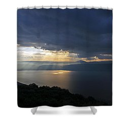 Sunset Over The Sea Of Galilee Shower Curtain by Dubi Roman