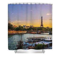 Sunset Over The Seine In Paris Shower Curtain