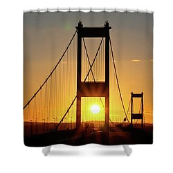 Sunset Over The Severn Shower Curtain by Brian Roscorla