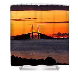 Sunset Over The Skyway Bridge Shower Curtain