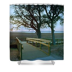Sunset Over The Sound Shower Curtain by Jan W Faul