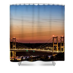 Shower Curtain featuring the photograph Sunset Over The Tacoma Narrows Bridges by Rob Green