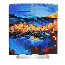 Shower Curtain featuring the painting Sunset Over The Village 2 By Elise Palmigiani by Elise Palmigiani