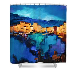 Shower Curtain featuring the painting Sunset Over The Village 3 By Elise Palmigiani by Elise Palmigiani