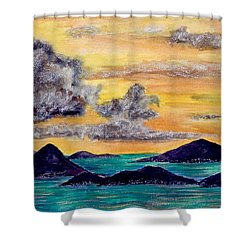 Sunset Over The Virgin Islands Shower Curtain
