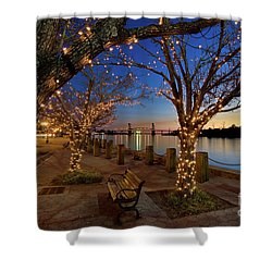 Sunset Over The Wilmington Waterfront In North Carolina, Usa Shower Curtain by Sam Antonio Photography