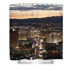Sunset Over Vegas Strip Shower Curtain