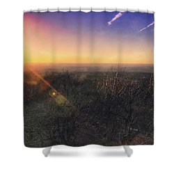 Sunset Over Wisconsin Treetops At Lapham Peak  Shower Curtain by Jennifer Rondinelli Reilly - Fine Art Photography