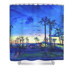 Sunset Palms Santa Monica Shower Curtain by Bonnie Lambert
