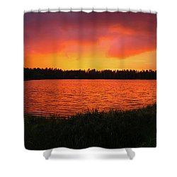 Sunset Panorama Shower Curtain by Teemu Tretjakov