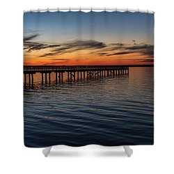 Sunset Pier Seaside Nj January 2017 Shower Curtain by Terry DeLuco