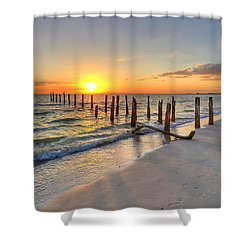 Sunset Pilings Shower Curtain by Sean Allen