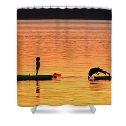 Sunset Play Shower Curtain by Rick Lawler
