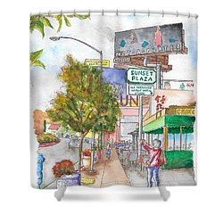 Sunset Plaza, Sunset Blvd., And Londonderry, West Hollywood, California Shower Curtain