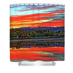 Shower Curtain featuring the photograph Sunset Ponds by Scott Mahon