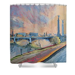 Sunset Pont Fragnee Shower Curtain