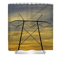 Sunset Power Poles Shower Curtain