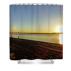 Sunset Reflecting On The Uruguay River Shower Curtain