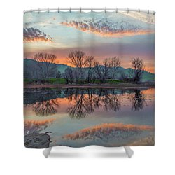 Sunset Reflection Shower Curtain by Marc Crumpler