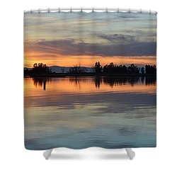 Sunset Reflections Shower Curtain by AJ Schibig