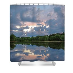 Shower Curtain featuring the photograph Sunset Reflections by Lori Coleman