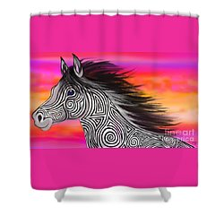Shower Curtain featuring the painting Sunset Ride Tribal Horse by Nick Gustafson