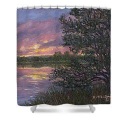 Shower Curtain featuring the painting Sunset River # 8 by Kathleen McDermott