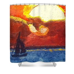 Sunset Sail Shower Curtain