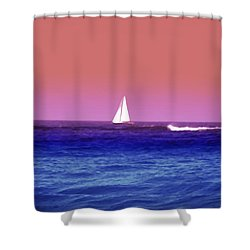 Sunset Sailboat Shower Curtain by Bill Cannon