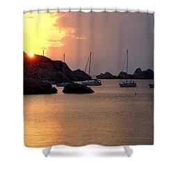 Sunset Sailing Boats Shower Curtain