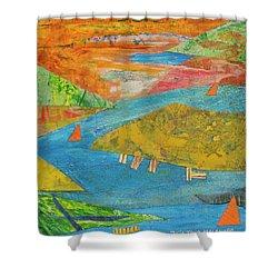Sunset Sails 1 Shower Curtain