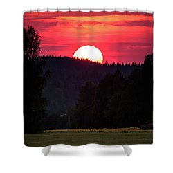 Sunset Scenery Shower Curtain by Teemu Tretjakov