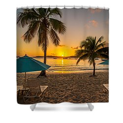 Sunset Secret Harbor Shower Curtain
