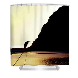 Shower Curtain featuring the photograph Sunset Silhouette At Morro Bay by Art Block Collections