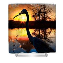 Sunset Silhouette Shower Curtain by Debra and Dave Vanderlaan