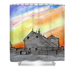 Sunset Silhouetted Farm Shower Curtain by R Kyllo