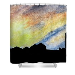 Sunset Silhouetted Farmstead Shower Curtain by R Kyllo
