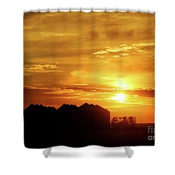 Shower Curtain featuring the photograph Sunset Silos by Clare VanderVeen