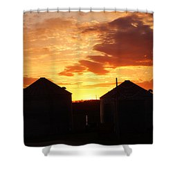 Shower Curtain featuring the digital art Sunset Silos by Jana Russon