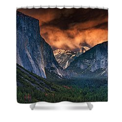 Sunset Skies Over Yosemite Valley Shower Curtain by Rick Berk