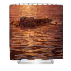 Sunset Snuggle - Sea Otters Floating With Kelp At Dusk Shower Curtain
