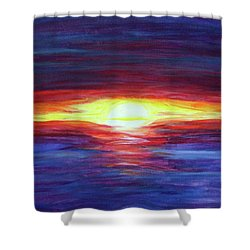 Shower Curtain featuring the painting Sunset by Sonya Nancy Capling-Bacle
