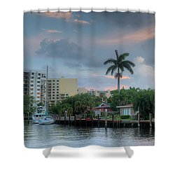 sunset South Florida canal Shower Curtain