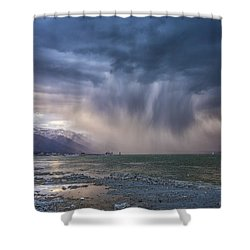 Sunset Storm Over Mono Lake Shower Curtain